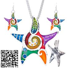 1set NEW Starfish Necklace Earrings Set Alloy Unique Starfish Design Gift Animal Pendant Jewelry Sets Rainbow Charm Accessories new lemon starfish costly necklace