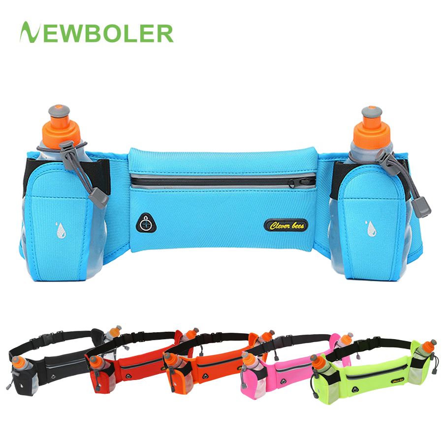 NEWBOLER 2019 New Running Belt With 2 Water Bottle Reflective Belt Men Women Waist Pack Outdoor Sport Multifunction Running Bags