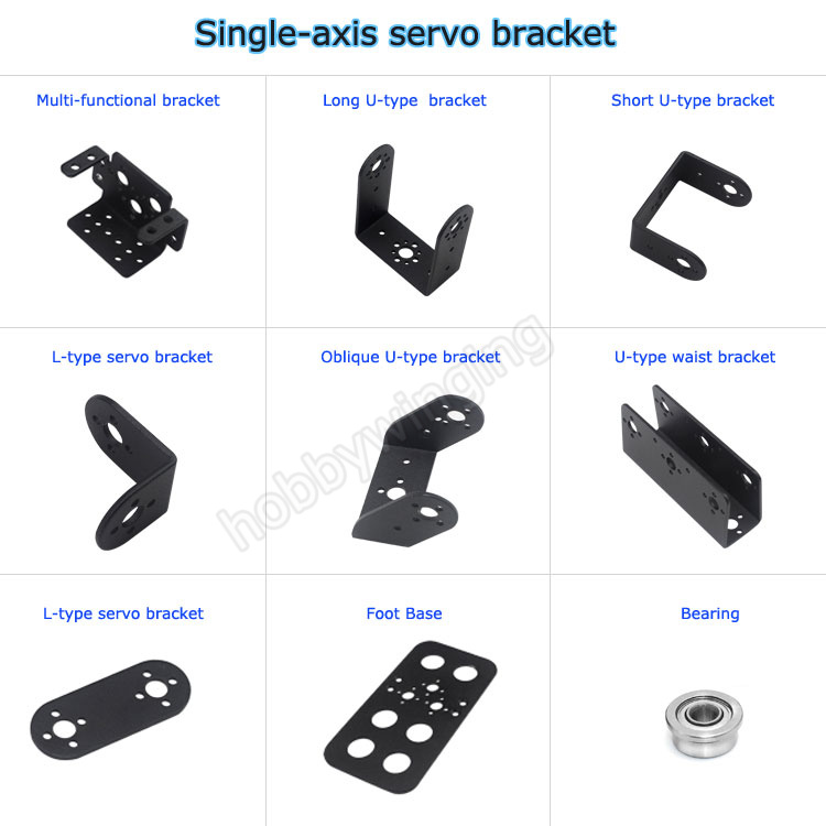 5PCS/lot Robot Uniaxial Steering Gear Servo Bracket Metal Stent Bipedal Robot Manipulator DIY accessories -Black