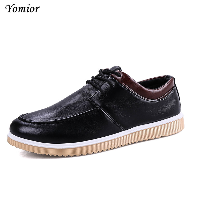 Yomior New Mens Leather Shoes Lace-Up Round Toe Breathable Fashion Casual Shoes for Men Spring/Autumn Free Shipping Male Flats free shipping 2017 new black brown autumn and winter full grain leather casual shoes men s fashion flats lace up shoes for men