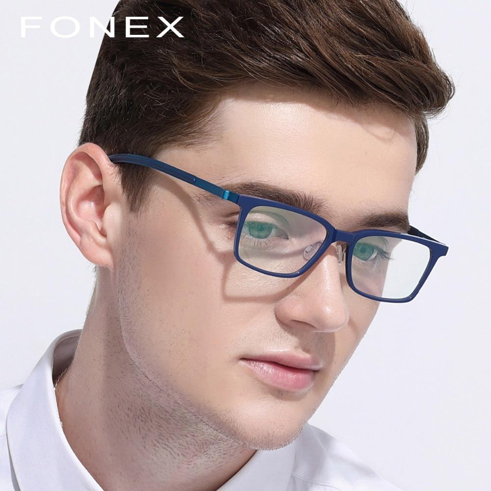 B чистый титановая оправа для очков Для мужчин ацетат 2018 Новый высокое качество квадратный Близорукость Оптические очки по назначению безв...