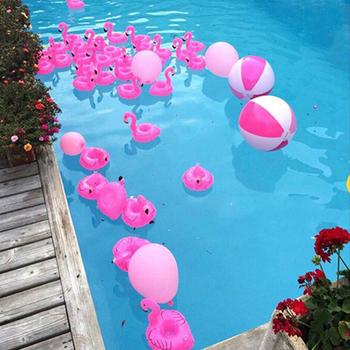 Dmuchane materace na kubek nadmuchiwane Flamingo kubki na napoje uchwyt pływający w basenie Bar podstawki urządzenia Floatation różowy tanie i dobre opinie Syeendy WOMEN Can Holder Inflatable Drink Can Holder pool float Swimming Toypedo Bandits pool float drink holder Kids Adults pool toys kids