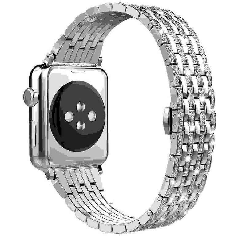 Bracelets de montre diamant strass série 5/4/3/2/1 Bracelet à maillons en acier inoxydable Bracelet pour i bracelets de montre 38mm 42mm 40mm 44mm - 2