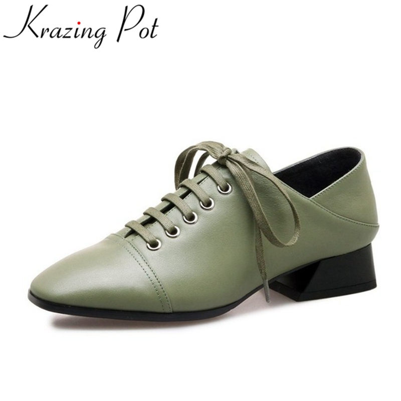 Krazing Pot new arrival cow leather streetwear lace up square toe med heel british simple style pumps for women oxford shoes L08 venchale 2018 new med square heel cow