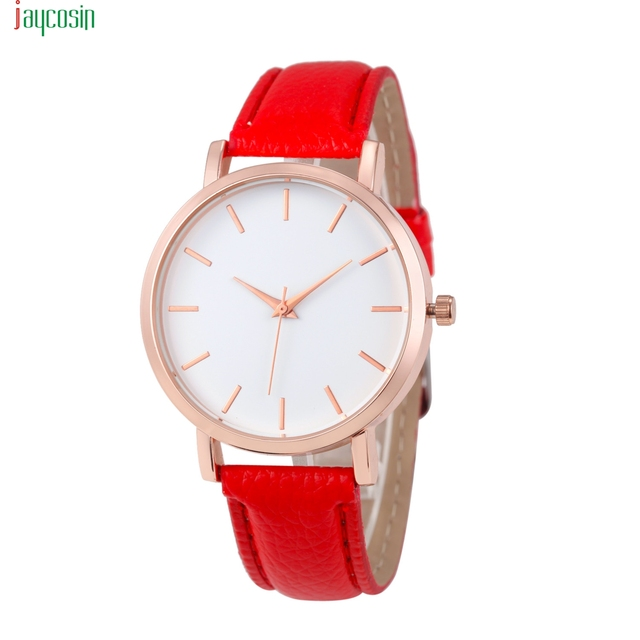JAYCOSIN Hot Red Watches Men Women Leather Fashion Casual Bracelet Wrist Watch C