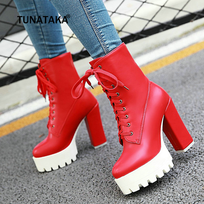 Women Martin Boots Thick High Heel Ankle Boots Lace Up Platform Winter Fashion Woman Shoes White Black Red sting fields of gold – the best of 1984–1994 cd