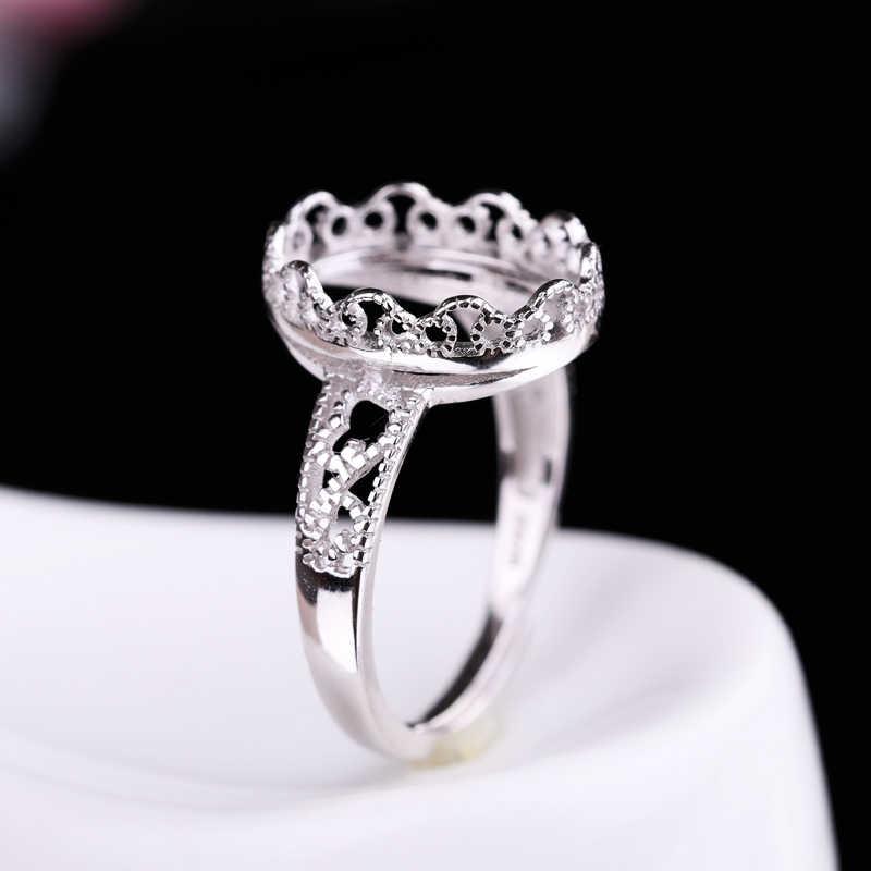 925 เงินสเตอร์ลิงแหวนหมั้น Vintage 10x13 มม. รูปไข่ Cabochon กึ่ง Mount แหวน Amber โกเมนการตั้งค่าขายส่ง