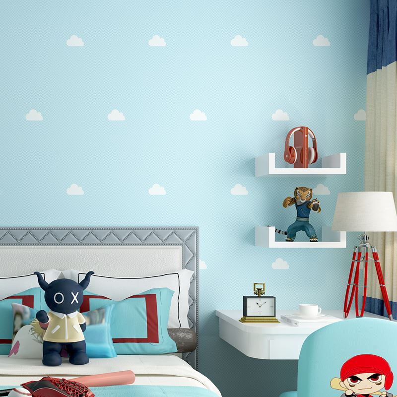 Blue Sky White Clouds Modern Wall Paper Rolls Children Room Boy Girl Bedroom Princess Room Background Wall Decoration Wallpaper