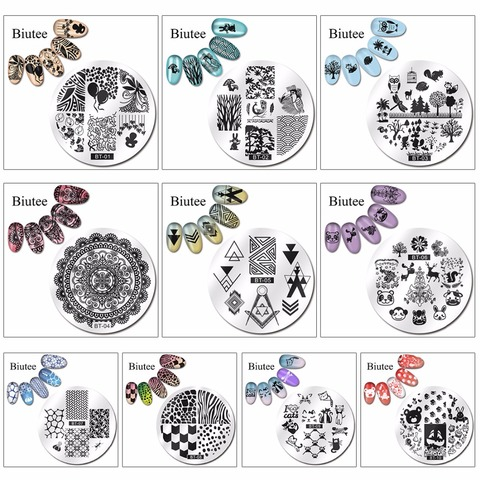 Biutee 1pc 20 Designs Nail Stamp Plate Classical Stripes Leaves Flowers Animals Star Musical Instruments Nail Template Multan