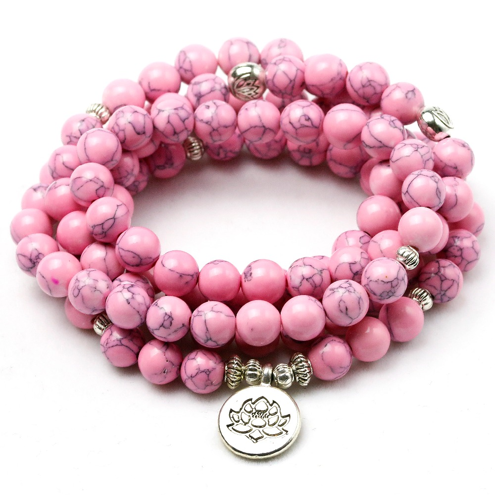 mofrgo wooden engraved charm beads stretch bracelets meditation prayer colorfu buddha bracelet for women and men dropshipping Pink Howlite Stone Healing Chakra 108 Prayer Beads Mala Bracelet Women Jewelry Wrist OM Buddhist Buddha Charm Bracelets