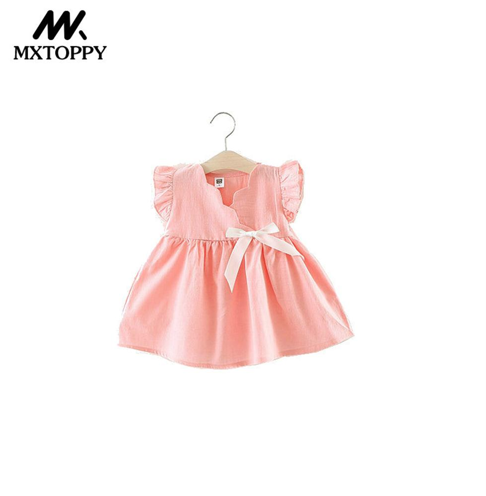 MXTOPPY Solid Baby Girls Dress 2018 Summer Bow Tie Princess Baby Dress For Bebe Toddler Girls Clothing