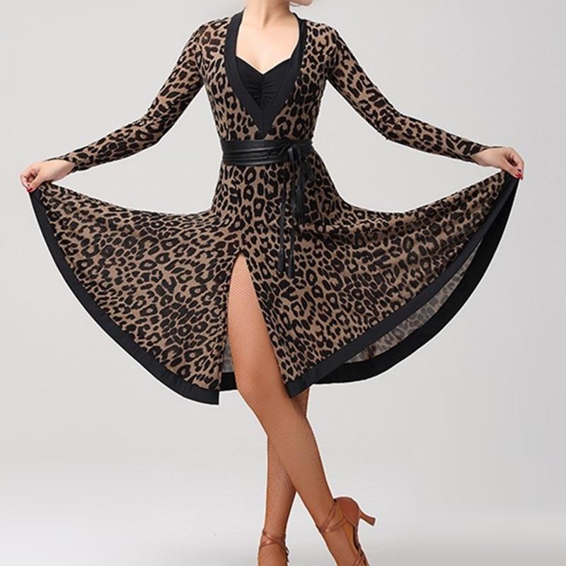 leopard latin dance costumes for women latin dress dance latin rumba dance dresses fringe latin salsa dress dance wear