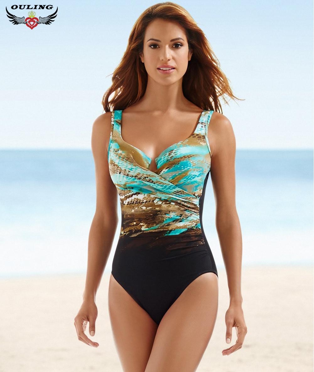 fc3b08a09c Multicolor Women Print One-piece Swimsuits Bandage High Cut Backless Swimwear  Bathing Suit Retro Beach Monokini Plus Size XXXXXL