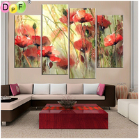 DPF Diamond Embroidery Red Flower Diamond Painting Cross Stitch Crafts Diamond Mosaic Kit Full Square Needlework