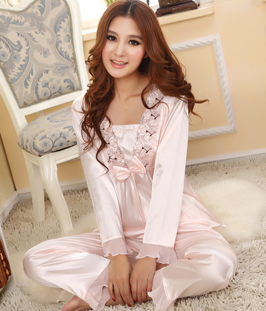New!Spring and autumn Women's faux silk sleepwear plus size long ...