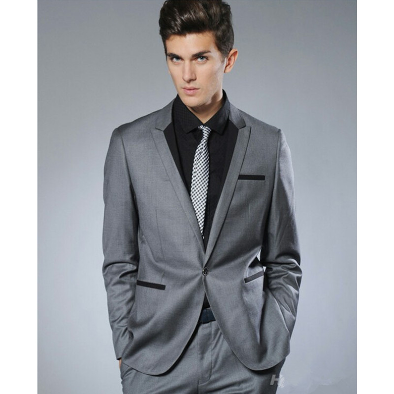 High Class Best Selling dark gray Mens Business Dress Suits Slim Fit men wedding suits with pants ( jacket+Pants)