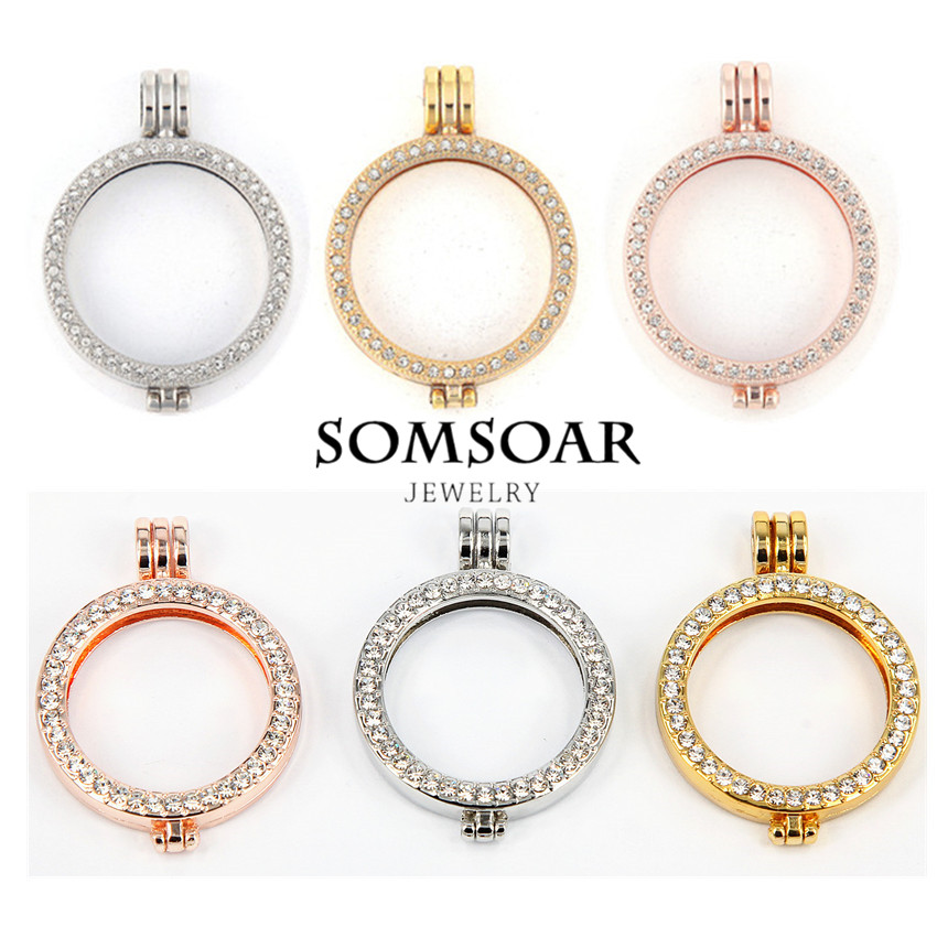 1pcs Sale 35mm Large Pave Crystal Coin Holder For 33mm Disc Coin My Coin Jewelry Necklace Pendant