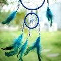 Índia Estilo Do Carro Azul Handmade Dream Catcher Net Circular Com pena Decoração Pendurado Decoração Ornamento