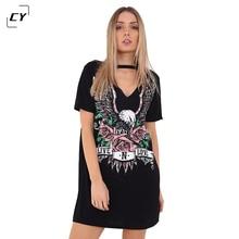 Women Sexy V Neck Dress Print Punk Rock N Roll Eagle Halter T Shirt Dress 2017 Short Sleeve Casual Loose Black Summer Mini Dress