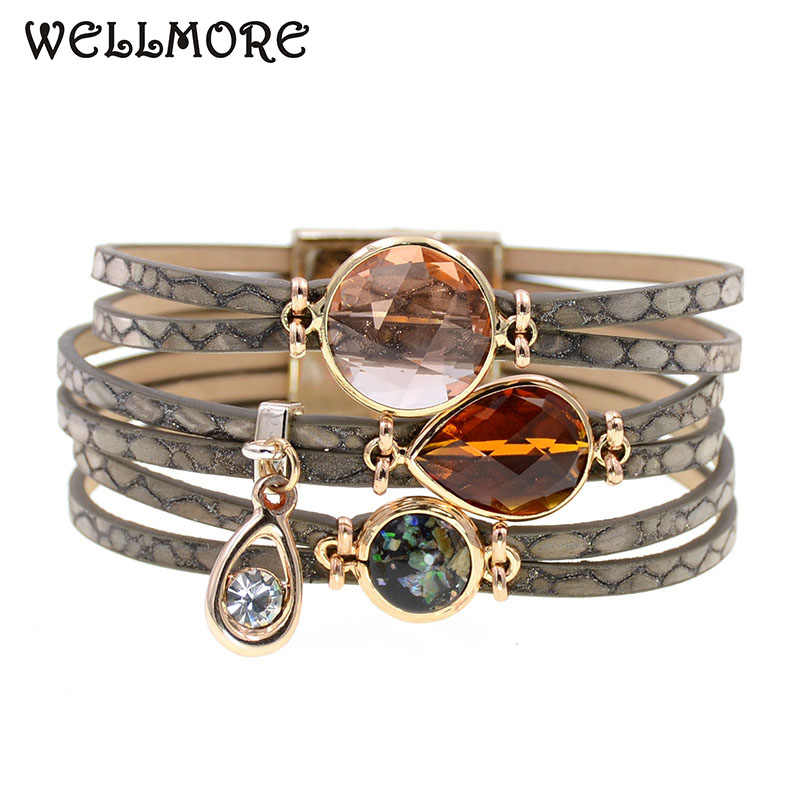 WELLMORE women bracelets glass leather bracelets bohemia charm bracelets for women fashion jewelry wholesale drop shipping