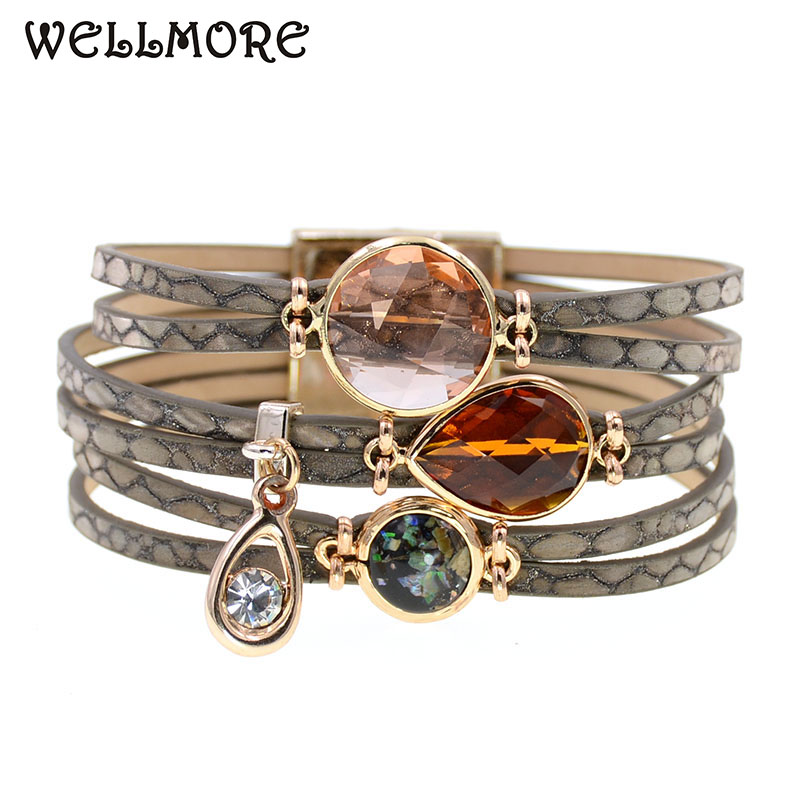 WELLMORE women bracelet glass leather bracelets bohemia charm bracelets for women fashion jewelry wholesale drop shipping