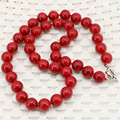 Fashion statement artificial coral red stone round 10mm beads necklace for women chain choker clavicle diy jewelry 18inch B3212