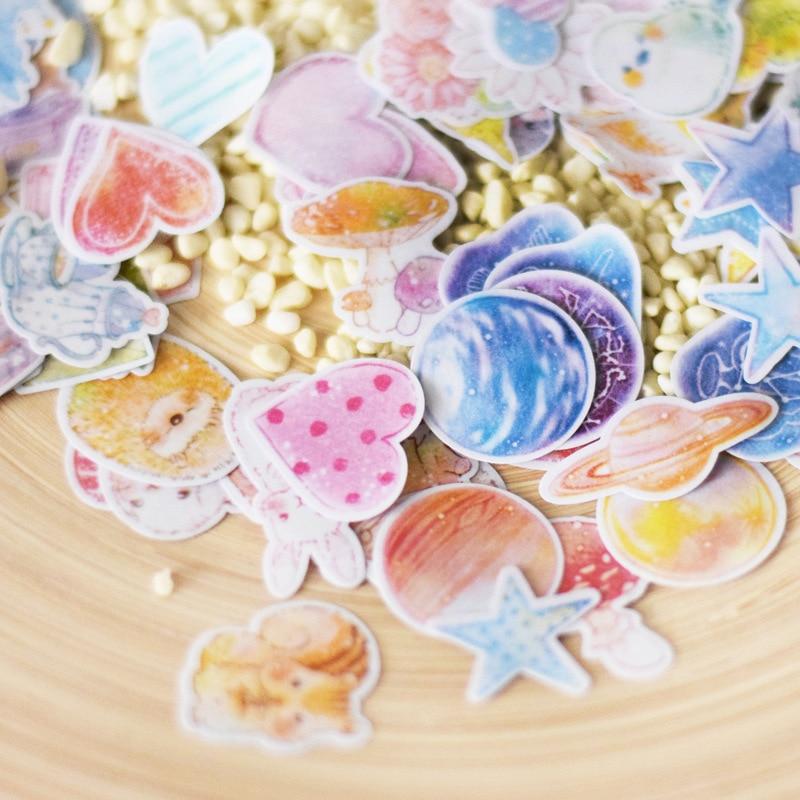 70 pcs/bag cute fresh watercolor 3D sticker creative hand account diary DIY photo album decoration paper sticker 06437