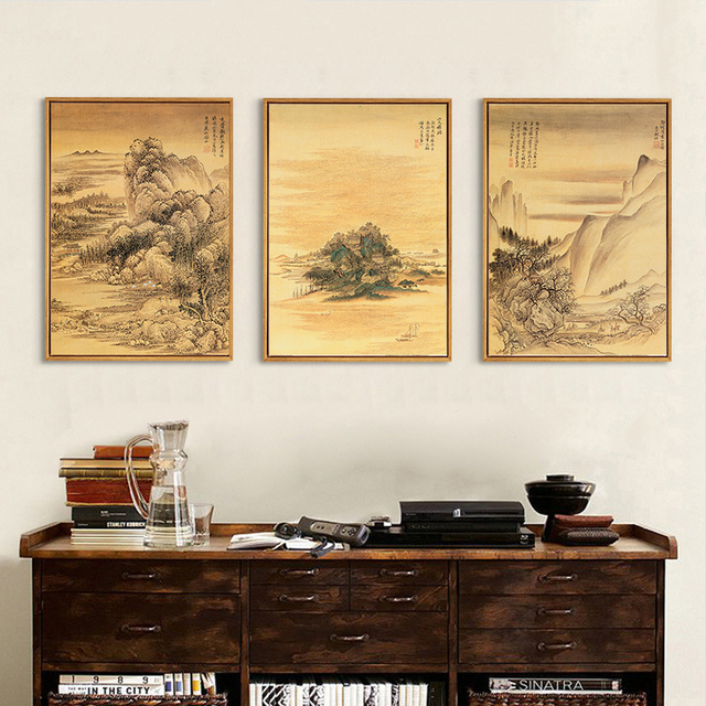 Mountain Landscape Scenery Ink Painting Canvas Mural Poster Chinese ...