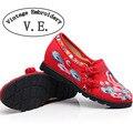Zapatos de Las Mujeres Del Bordado de la vendimia Pavo Real Bordado de Tela de Algodón Ocasional Plana Tobillo Hebillas Lona de Las Señoras Plataformas Zapatos Mujer