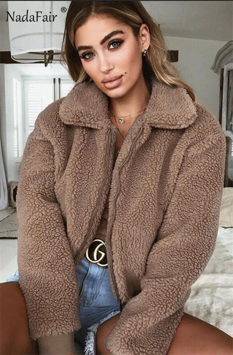 Nadafair Faux Fur Coat Women Autumn Winter Fluffy Teddy Jacket Coat Plus Size Long Sleeve Outerwear Turn Down Short Coat Female 10