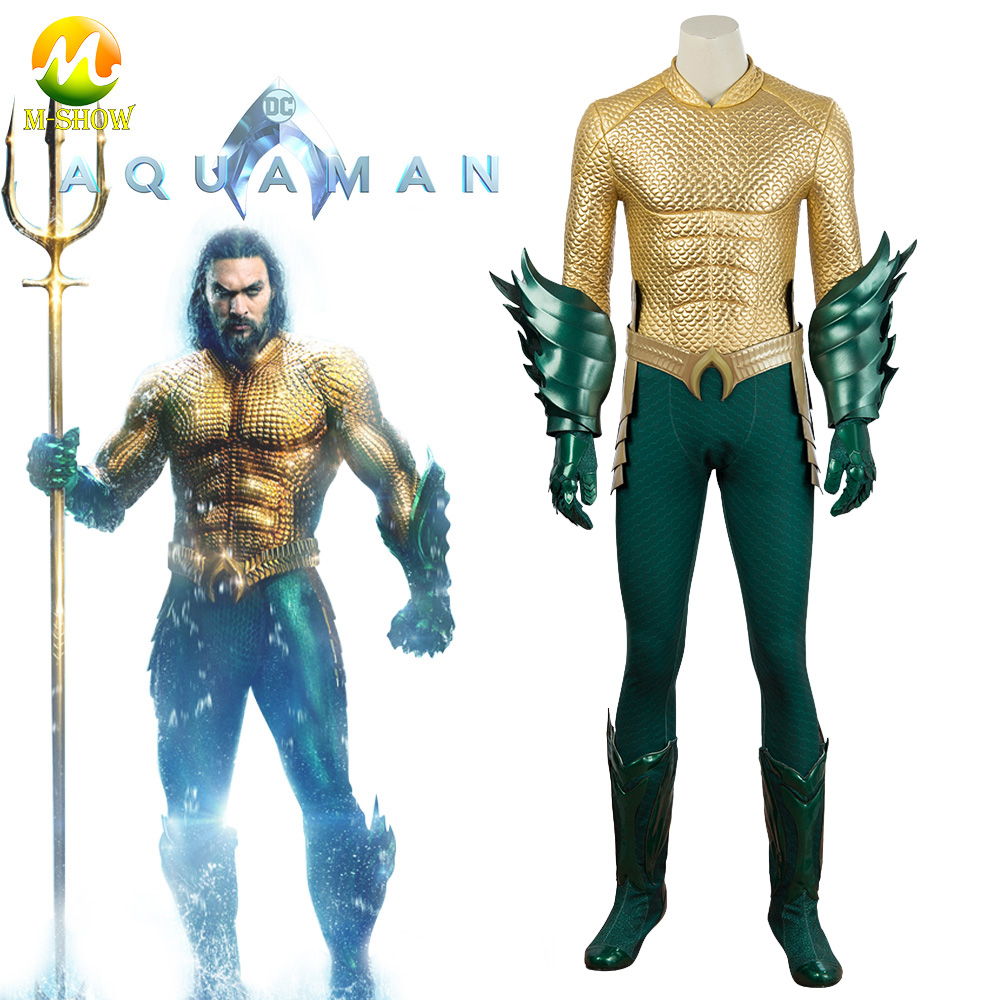 Aquaman Costume Movie Aquaman Cosplay Arthur Curry Costume Suit Gold Jumpsuit Custom Made  Full Set Halloween Party Bodysuits