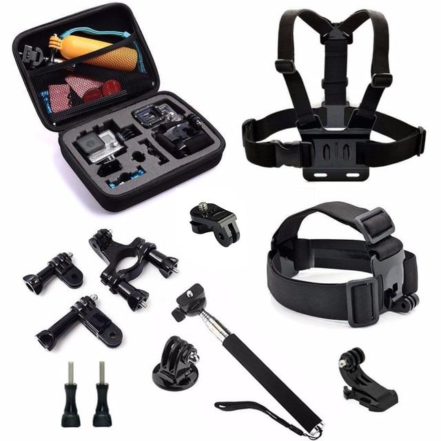 10 in 1 SJ4000 Accessories Head Mount Strap Chest Harness Wrist Monopod Camera Case for Gopro hero4/3 SJ5000 SJ6000 Xiaomi yI 4K