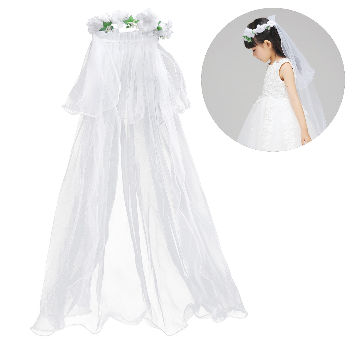 White Flower Girl Veils Two Layers White Wedding Communion Hair Wreath Wedding Accessories