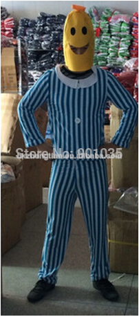 FREE SHIPPING Mens Bananas in Pyjamas TV Adult Fancy Dress Unisex Yellow Banana Costume