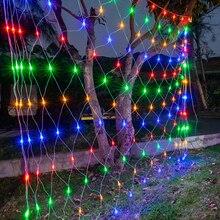1,5x1,5 м, 3x2 м, 6x4 м, светодиодный сетчатый светильник, уличный водонепроницаемый светильник для сада, Рождества, свадьбы, вечеринки, оконный занавес, сетчатый светильник, s гирлянда