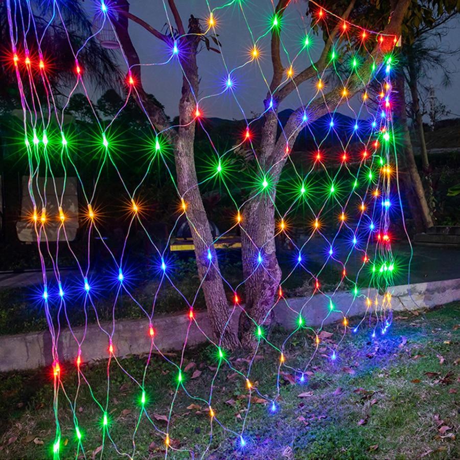 1.5x1.5M 3x2M 6x4M Led Net Mesh String Light Outdoor Waterproof Garden Christmas Wedding Party Window Curtain Net Lights Garland