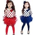 2016 New Polka Dot Girls Clothing Sets High Cotton Bow-knot Kids Shirt + Skirt + Leggings Princess Suits for Children,RC349