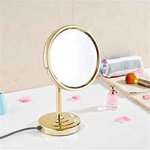 Gurun 8Inch 10X magnifying table Makeup Mirror with Light LED circular Brass Adjustable Countertop compact mirror blank 2209DJ