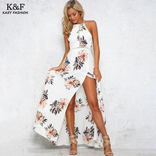 Floral Maxi Chiffon Dress with Slit Leg
