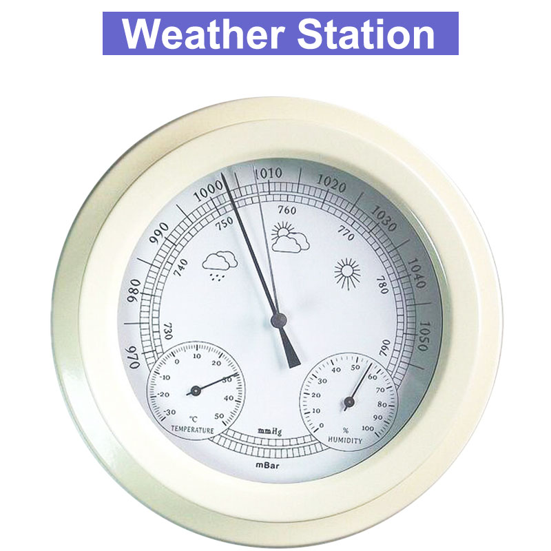 THB9365 22.5CM Thermometer Hygrometer Barometer Weather Station european style dark gray 22 5cm 3 in 1 thermometer hygrometer barometer weather station