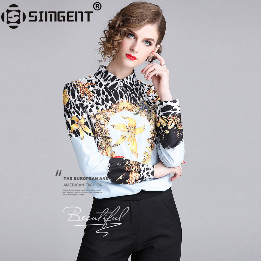 Simgent Leopard Blouse New Fashion Womens Elegant Casual Print Shirts Slim Woman Clothes Ladies Blouses Top Bloes Dames SG811274