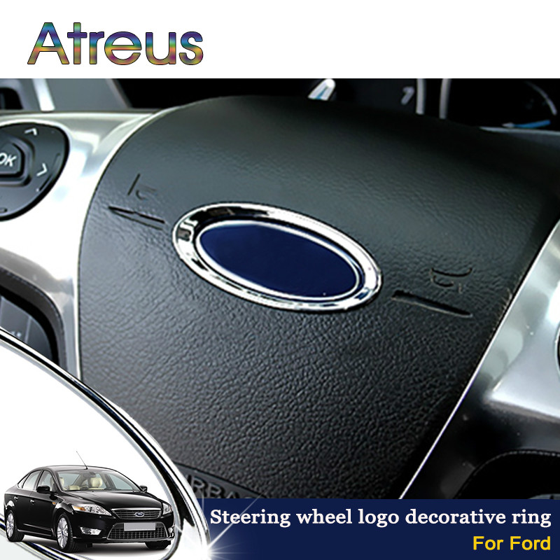 1X Chrome Steering Wheel Protector Trim Interior Stickers For Ford Kuga Fiesta Ecosport Escape Mondeo Focus MK2 MK3 Accessories