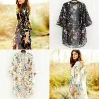 Long Summer Cardigan Kimono Tops Blouses Sunscreen Women Casual Long Chiffon