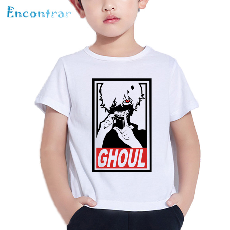 Anime Tokyo Ghoul Pattern Funny Kids T shirt Baby Girls Summer Comfortable Tops Boys Casual Cool White T-shirt,HKP5226