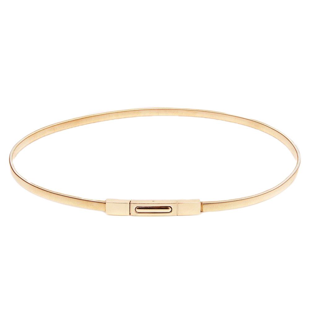 Spring loaded elastic gold chain waist belt women 2016 high quality Decorative fine gold female belts dresses for girls 0045 patchwork