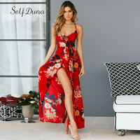 Self Duna Sundress 2018 Summer Women Beach Dress Floral Print Long Dress Red Black Backless Sexy