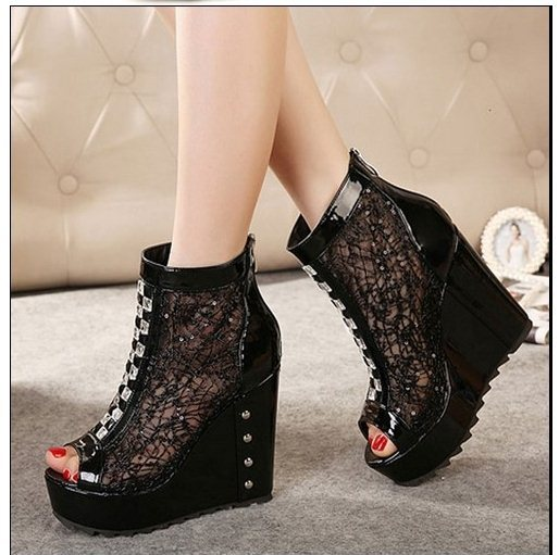 F6529 12CM 2015 Size 34-39 Women Fashion Platform Lace Mesh Cut-Out Rhinestone Peep-Toe Wedges Pumps Lady Sweet High-Top - Sandy's Store store