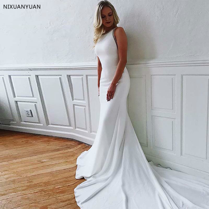 Simple Mermaid Wedding Gowns 2020 Scoop Neck Sleeveless Crystal Backless White Ivory Wedding Dresses Chapel Train Bride Dresses