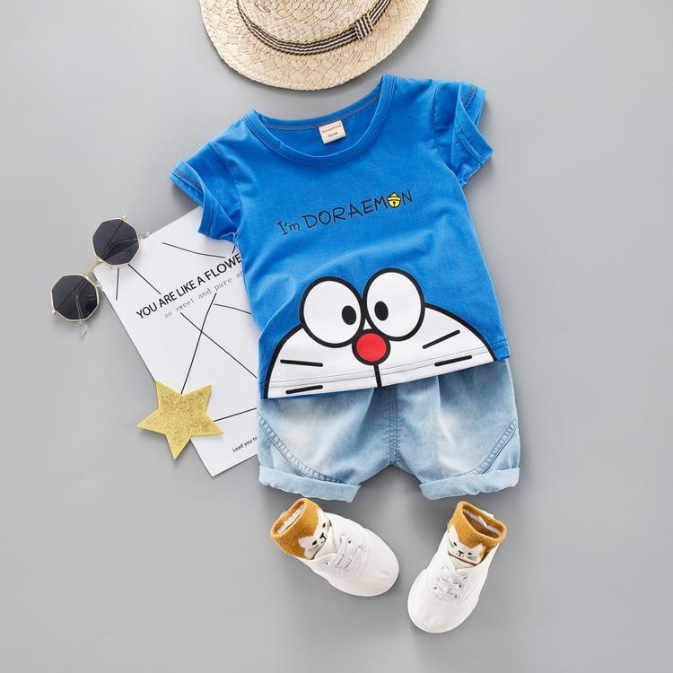 Cartoon Toddler Boy Clothes Summer Set 2 Color T Shirt Short Jeans Children Clothing Short Sleeve Shirt Boys Suit Baby Tracksuit 1