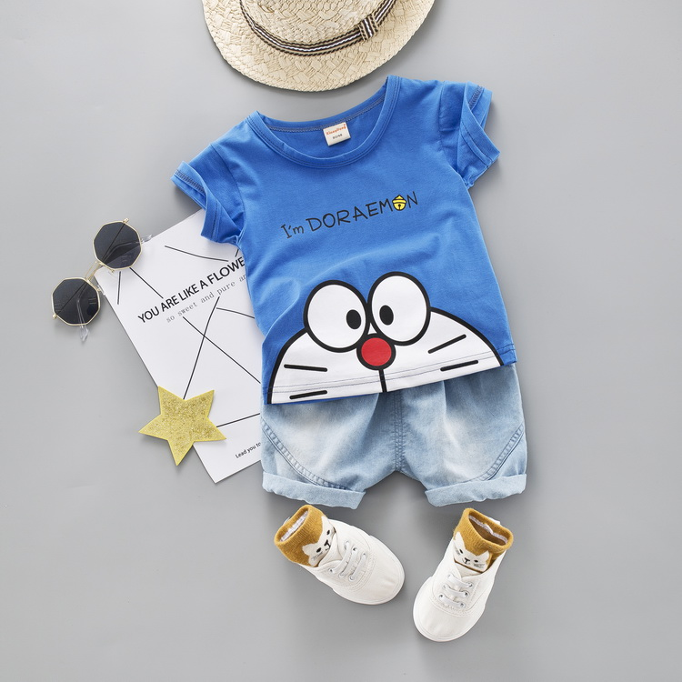 Cartoon Toddler Boy Clothes Summer Set 2 Color T Shirt Short Jeans Children Clothing Short Sleeve Shirt Boys Suit Baby Tracksuit